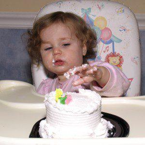 messy child birthday cake